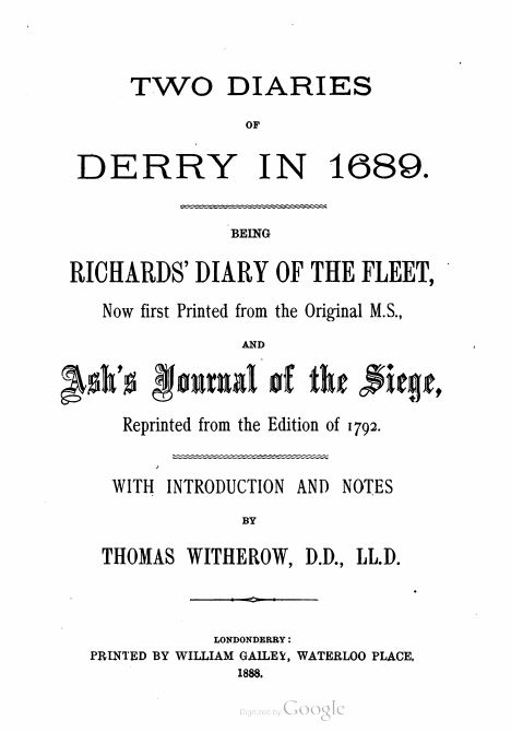 Two Diaries of Derry